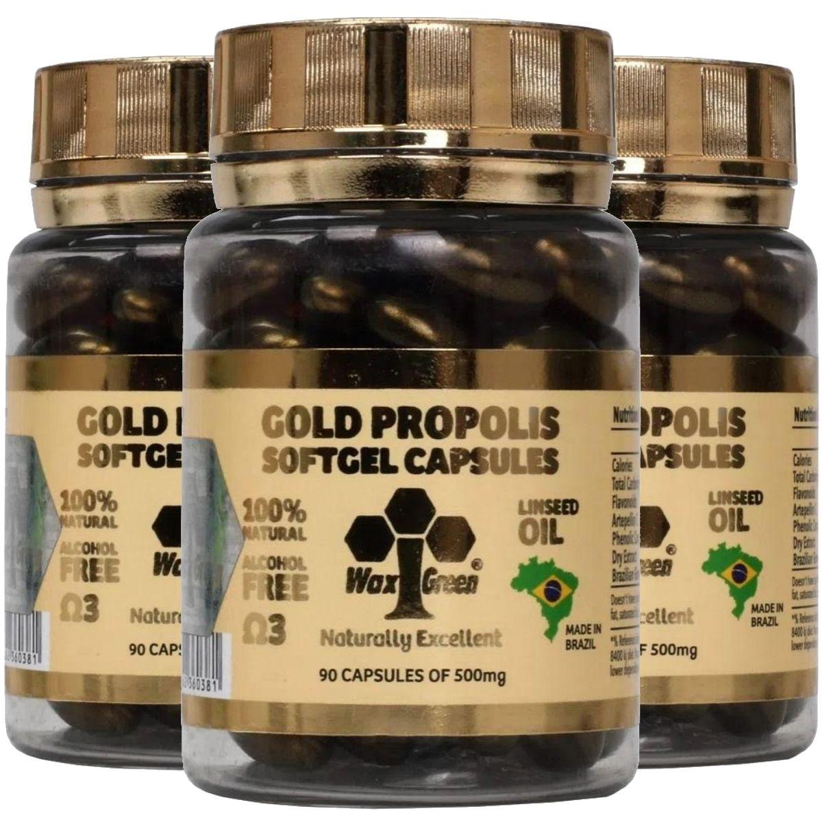 Kit 3 Própolis Verde Gold 87% C/ Ômega 3 90 cápsulas 500mg - Wax Green