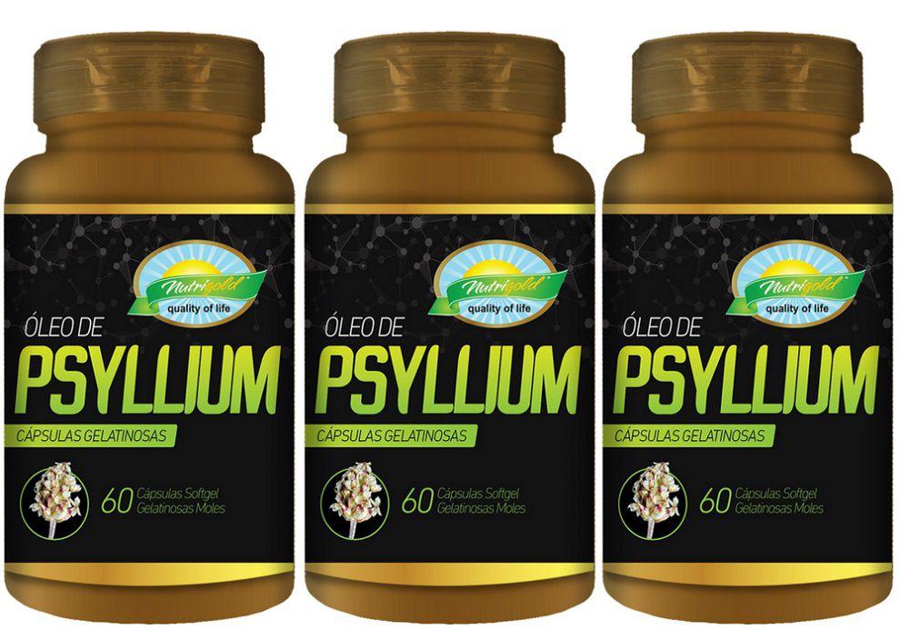 Kit 3 Psyllium 60 Cápsulas Softgel 670mg  Nutri Gold