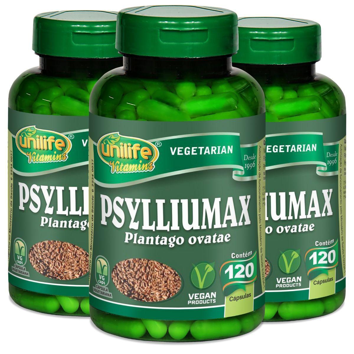Kit 3 Psylliumax - Psyllium 550mg 120 Cápsulas - Unilife