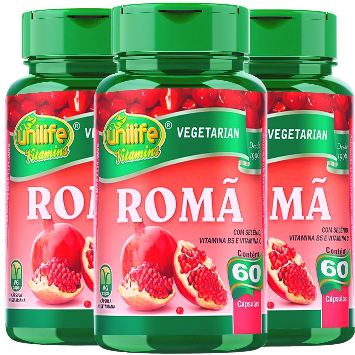 Kit 3 Romã C/ Vitaminas Unilife - 60 Cáps 500mg