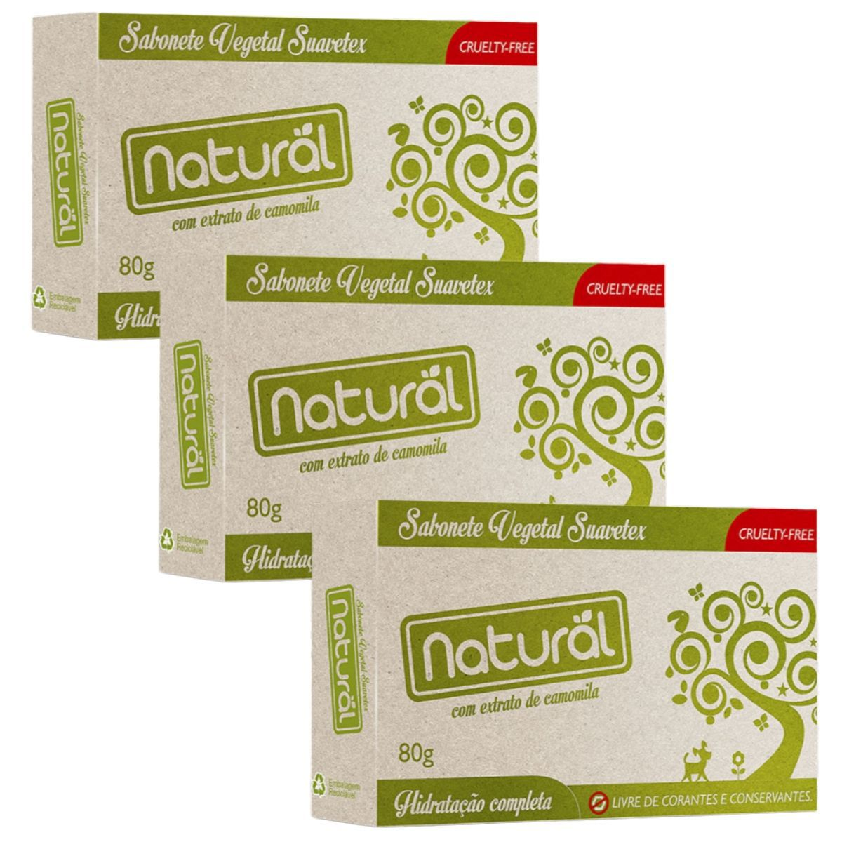 Kit 3 Sabonete Contente Com ingredientes Organicos e Naturais 80gr - Suavetex