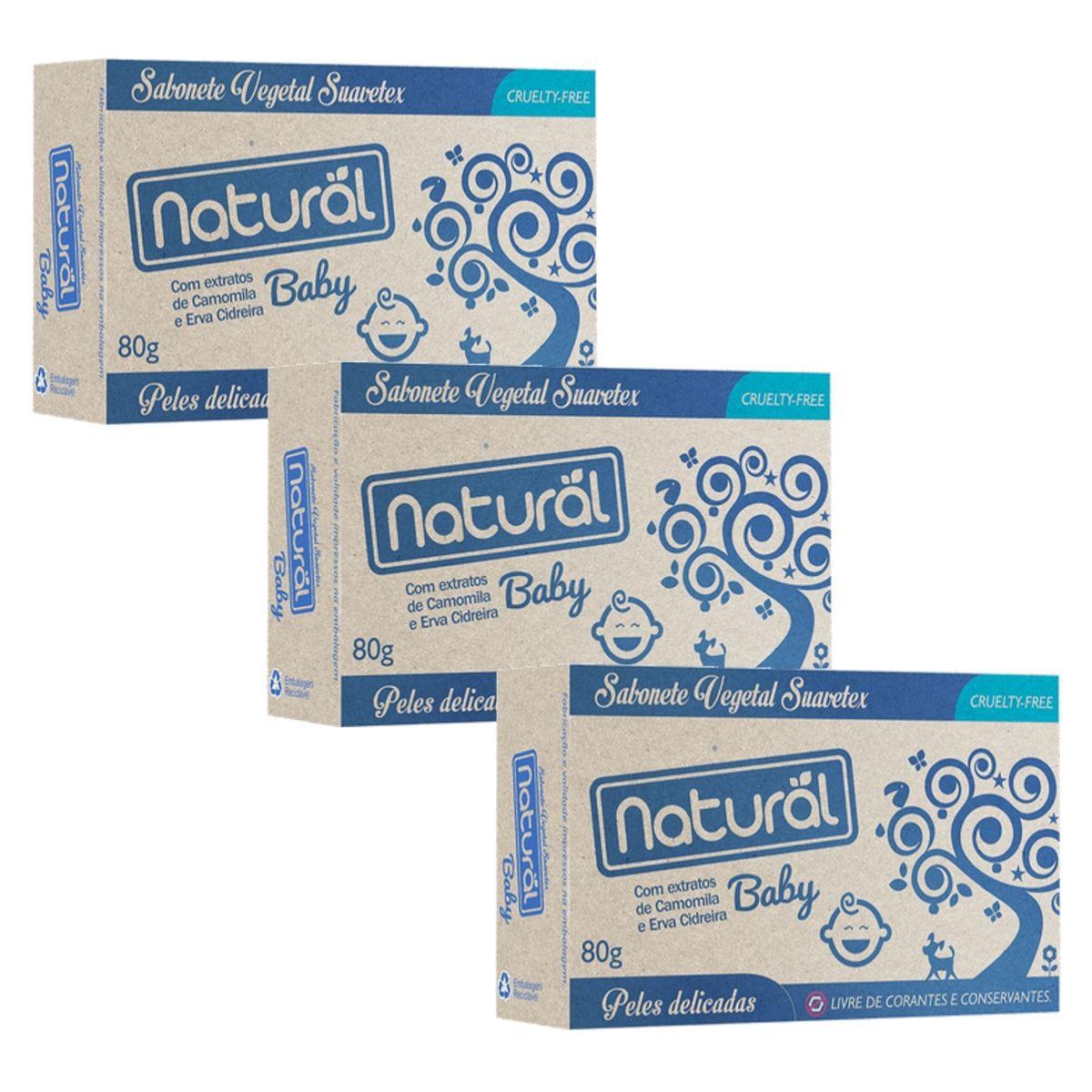 Kit 3 Sabonetes Suavetex Natural Baby C/ Extratos De Camomila e Erva Cidreira - 80g