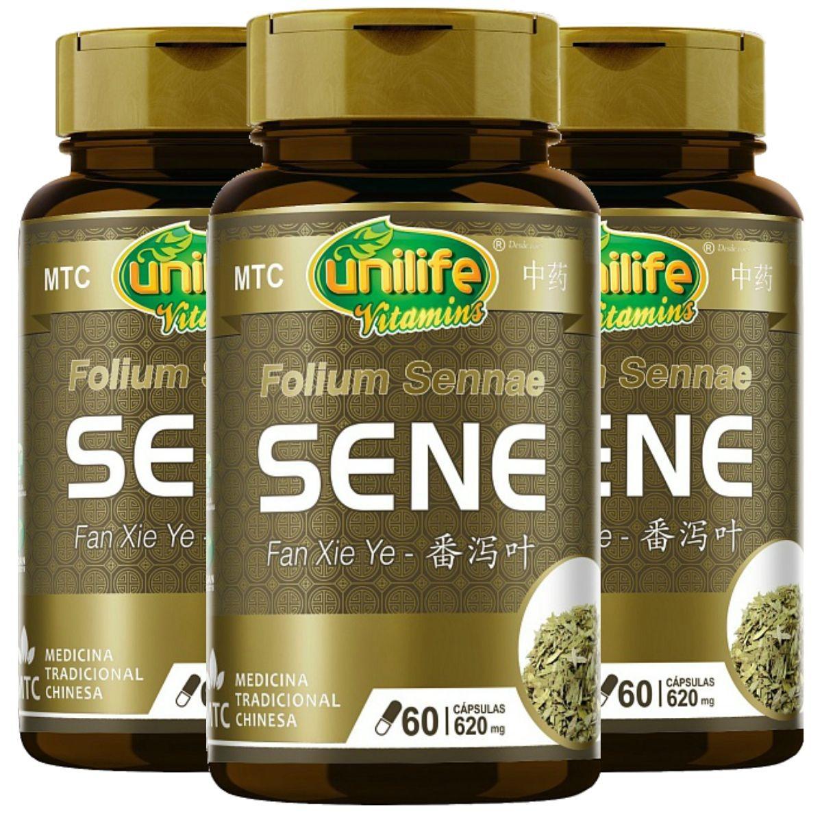 Kit 3 Sene Folium Sennae MTC 620mg 60 Cápsulas - Unilife