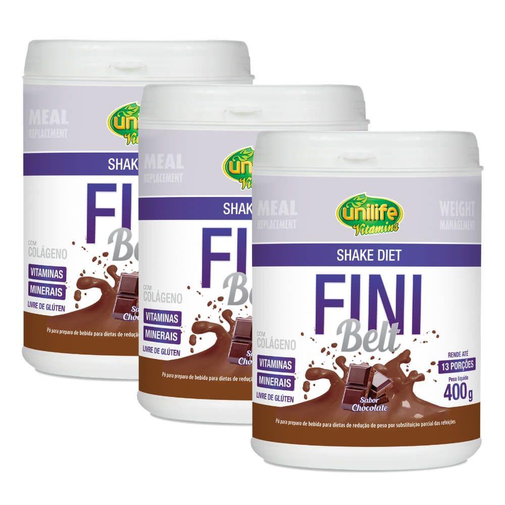 Kit 3 Shake Diet Fini Belt Unilife - 400g Sabor Chocolate