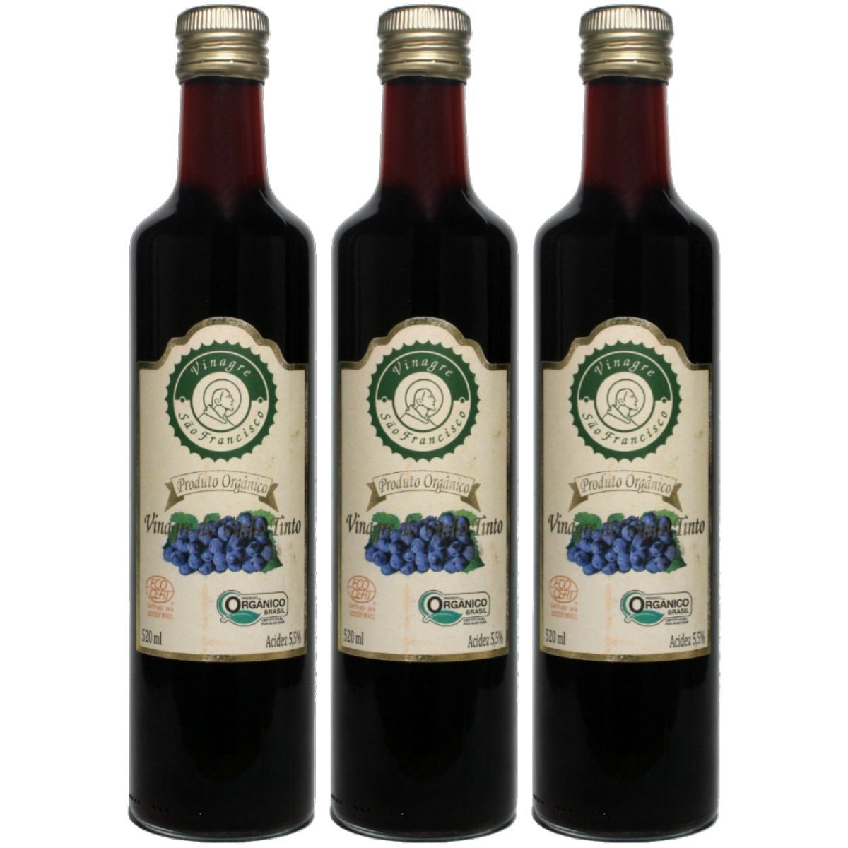 Kit 3 Vinagre Orgânico São Francisco Vinho Tinto Acidez 5,5% - 500ml