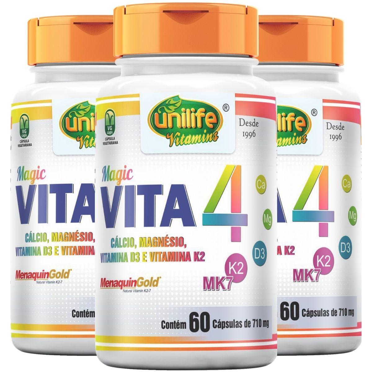 Kit 3 VITA 4 - Cálcio, Magnésio, Vitamina D3 E K2 60 Cápsulas 710mg - Unilife