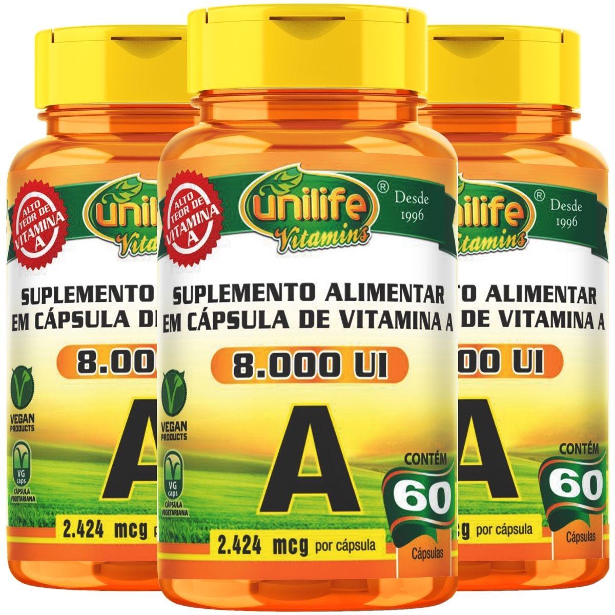 Kit 3 Vitamina A 8.000UI 60 Cápsulas Acetato de Retinol - Unilife