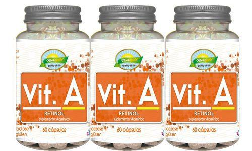 Kit 3 Vitamina A (Retinol) 60 Cápsulas 550mg