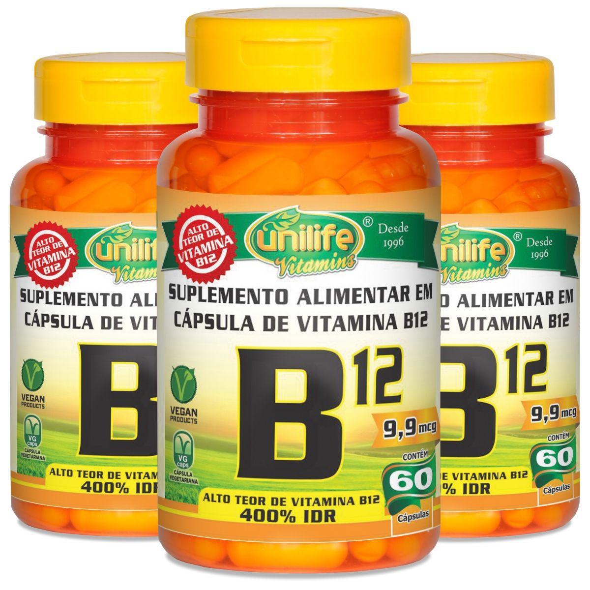 Kit 3 Vitamina B12 Cianocobalamina Unilife - 60 Cápsulas 450mg