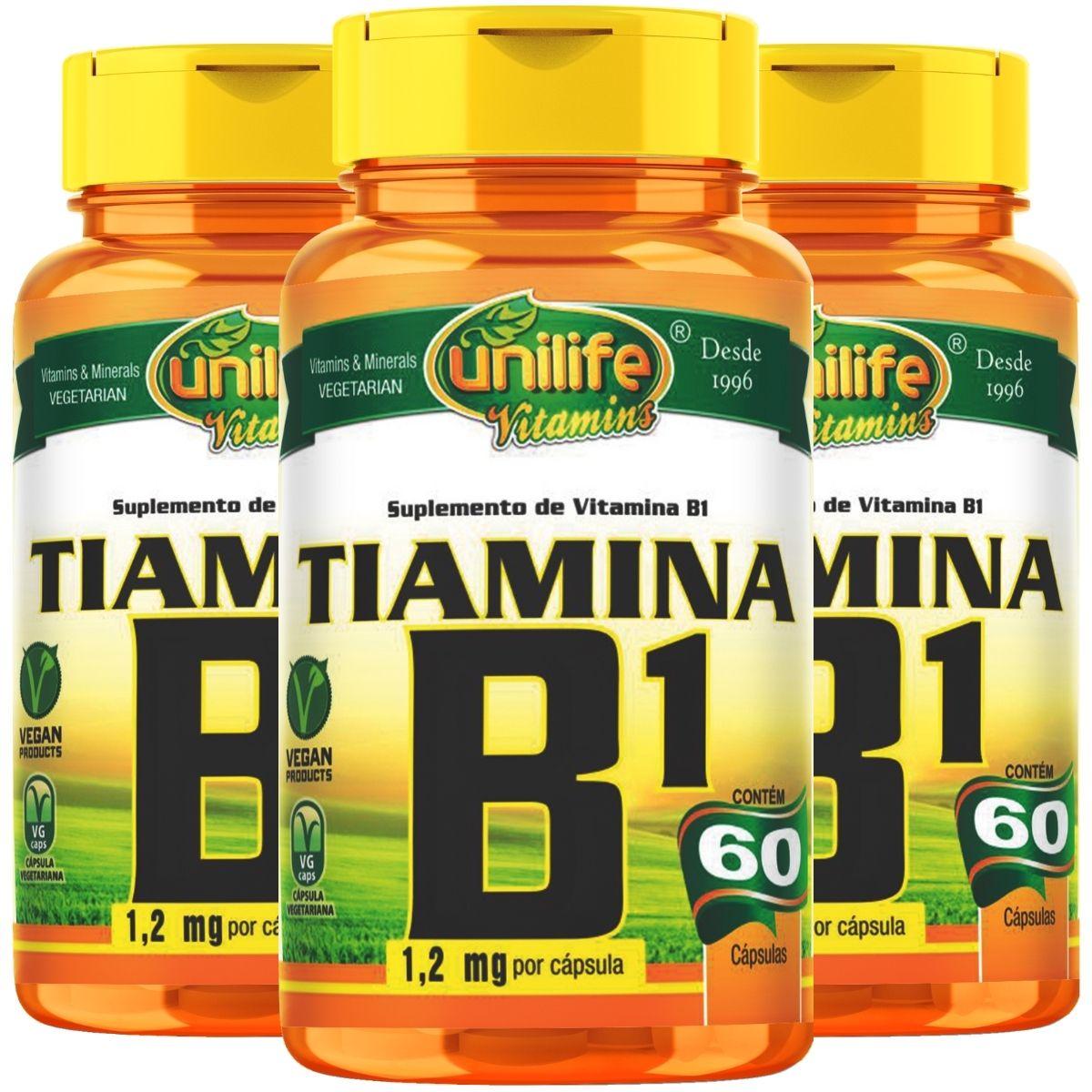 Kit 3 Vitamina B1 Tiamina 60 Cápsulas 500mg - Unilife