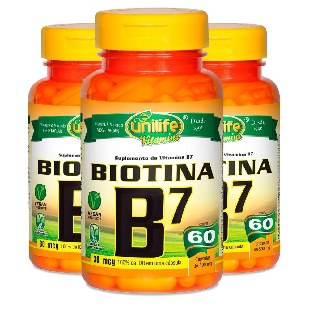 Kit 3 Vitamina B7 Biotina - Unilife 60 Cáps