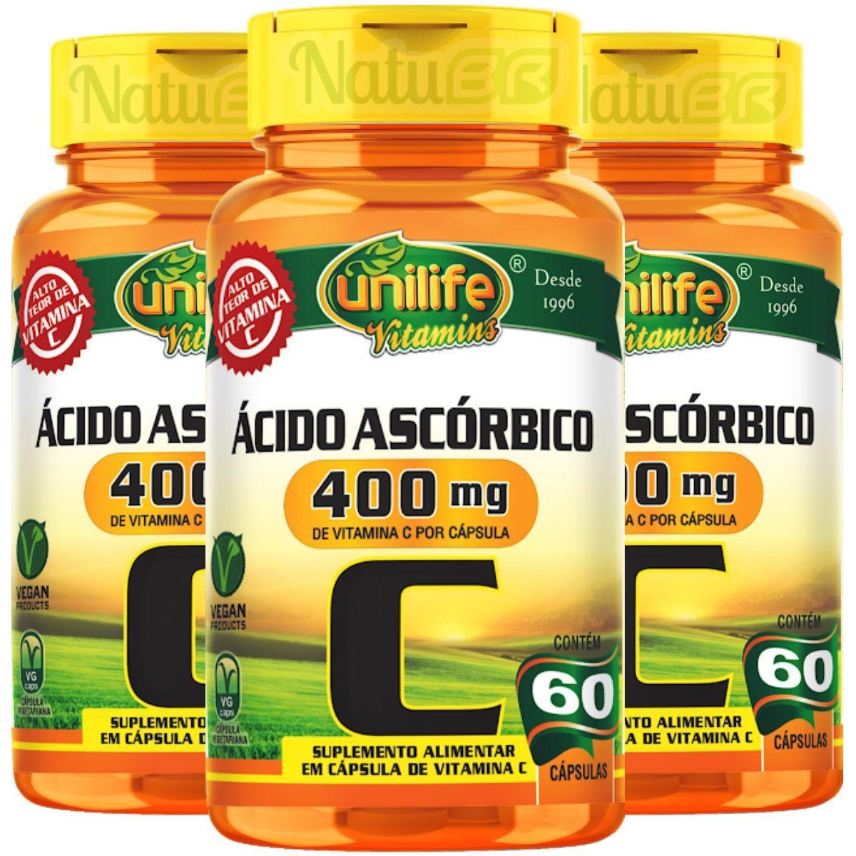Kit 3 Vitamina C Ácido Ascórbico 400mg 60 Cáps - Unilife