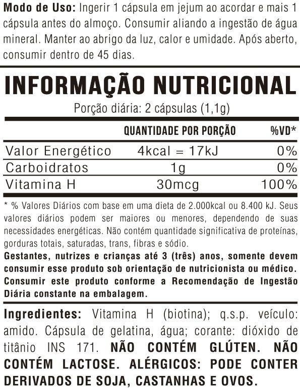 Kit 3 Vitamina H (Biotina) 60 Cápsulas 550mg