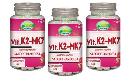 Kit 3 Vitamina K2 Menaquinona Mk7 60 Comp 1,2g Sabor Framboesa