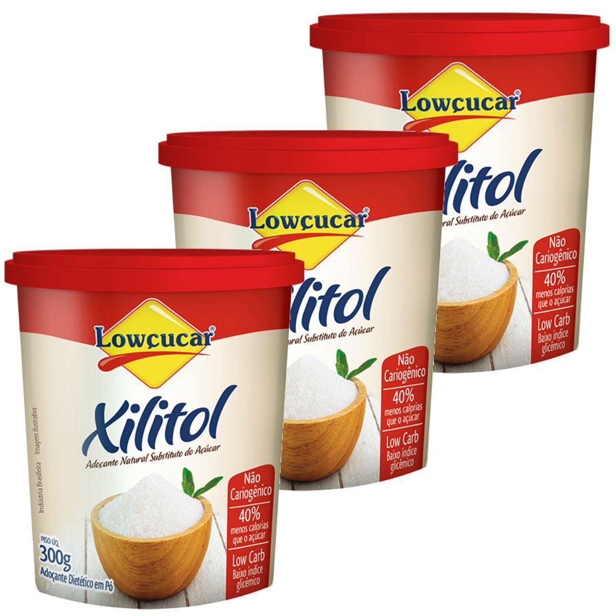 Kit 3 Xilitol Adoçante Dietético Low Carb 300g - Lowçucar