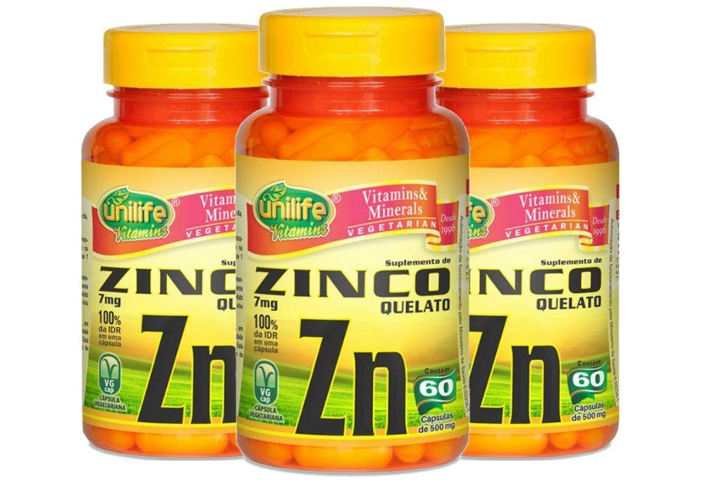 Kit 3 Zinco Quelato Zn - 60 Cápsulas Unilife