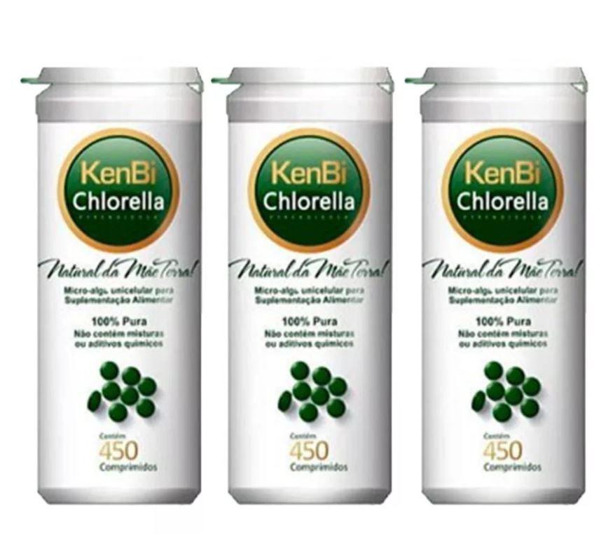 Kit 3x Chlorella Kenbi 450 Comprimidos 100% Chlorella -  Super Alimento