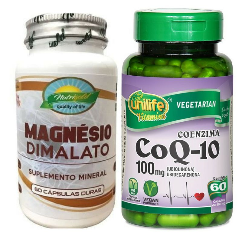 Kit 3x Magnésio Dimalato 60 Capsulas + 2x Coenzima Q10 60 Capsulas