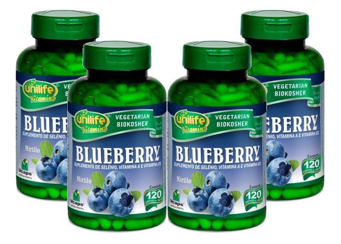 Kit 4 Blueberry Mirtilo Antioxidante Unilife - 120 Cápsulas 550mg