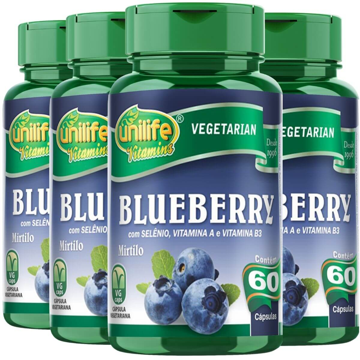 Kit 4 Blueberry Mirtilo Antioxidante Unilife - 550 Mg 60 Cápsulas