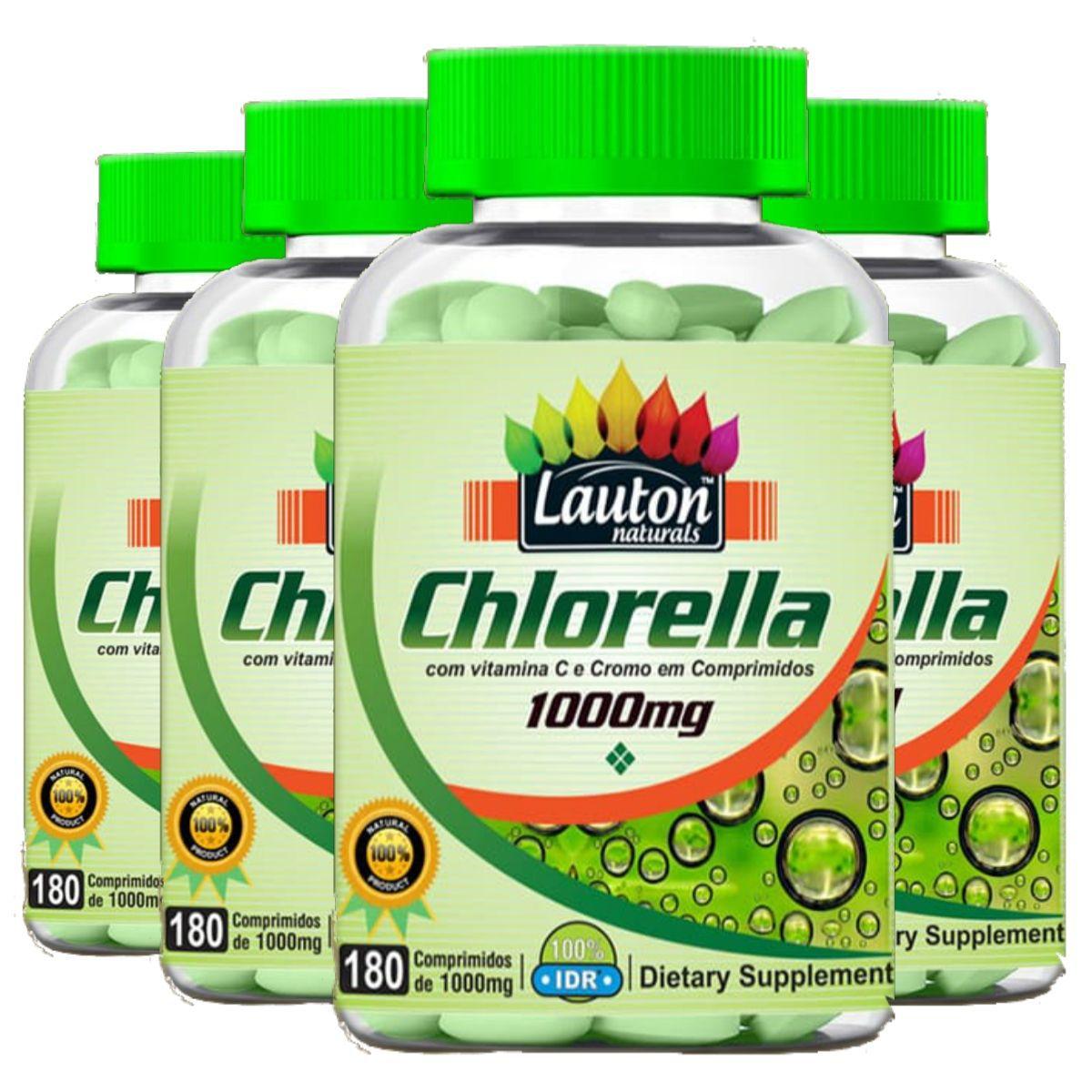 Kit 4 Chlorella Lauton Naturals - 1000mg 180 Comprimidos