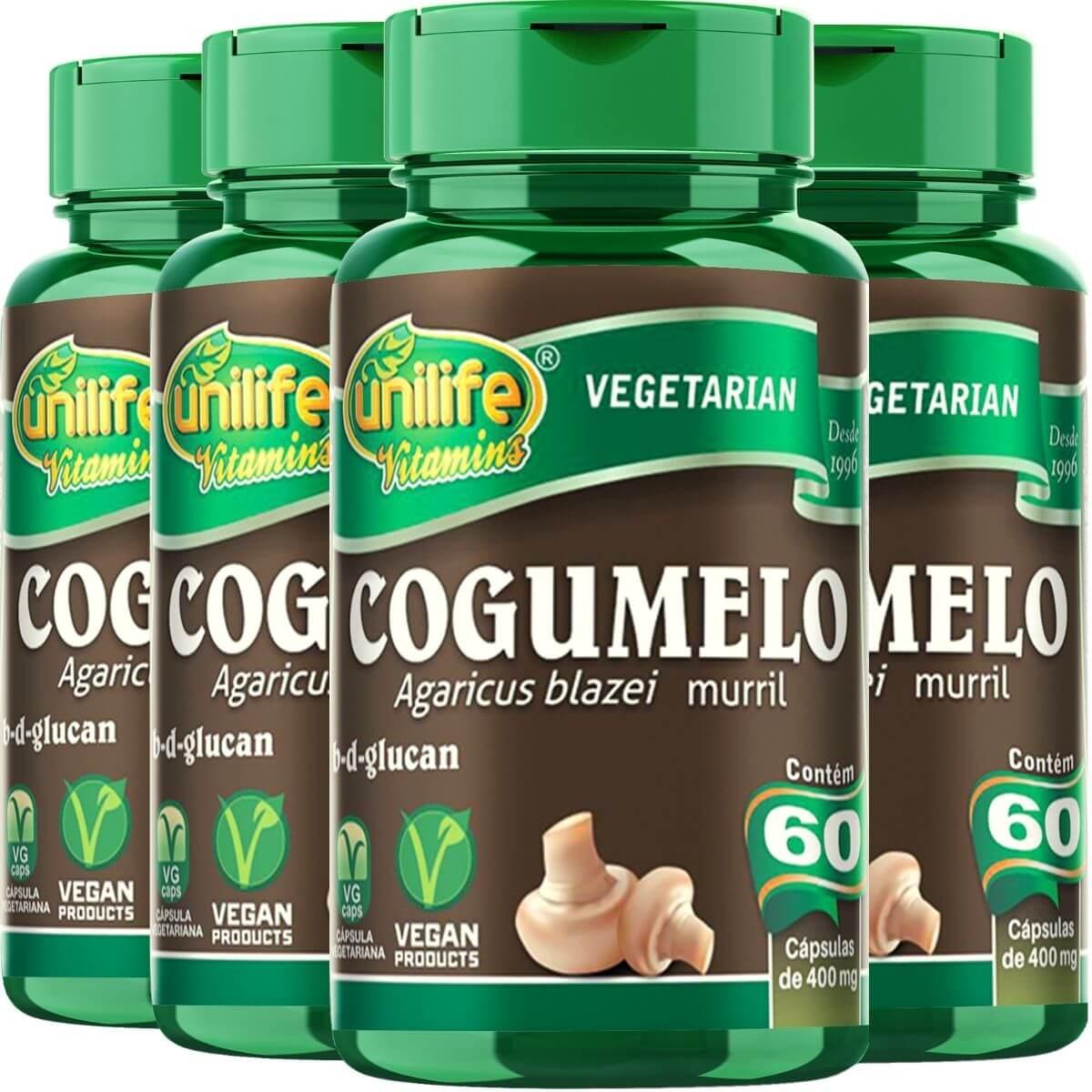 Kit 4 Cogumelo Agaricus Blazei Murril Unilife - 60 Cápsulas 400mg