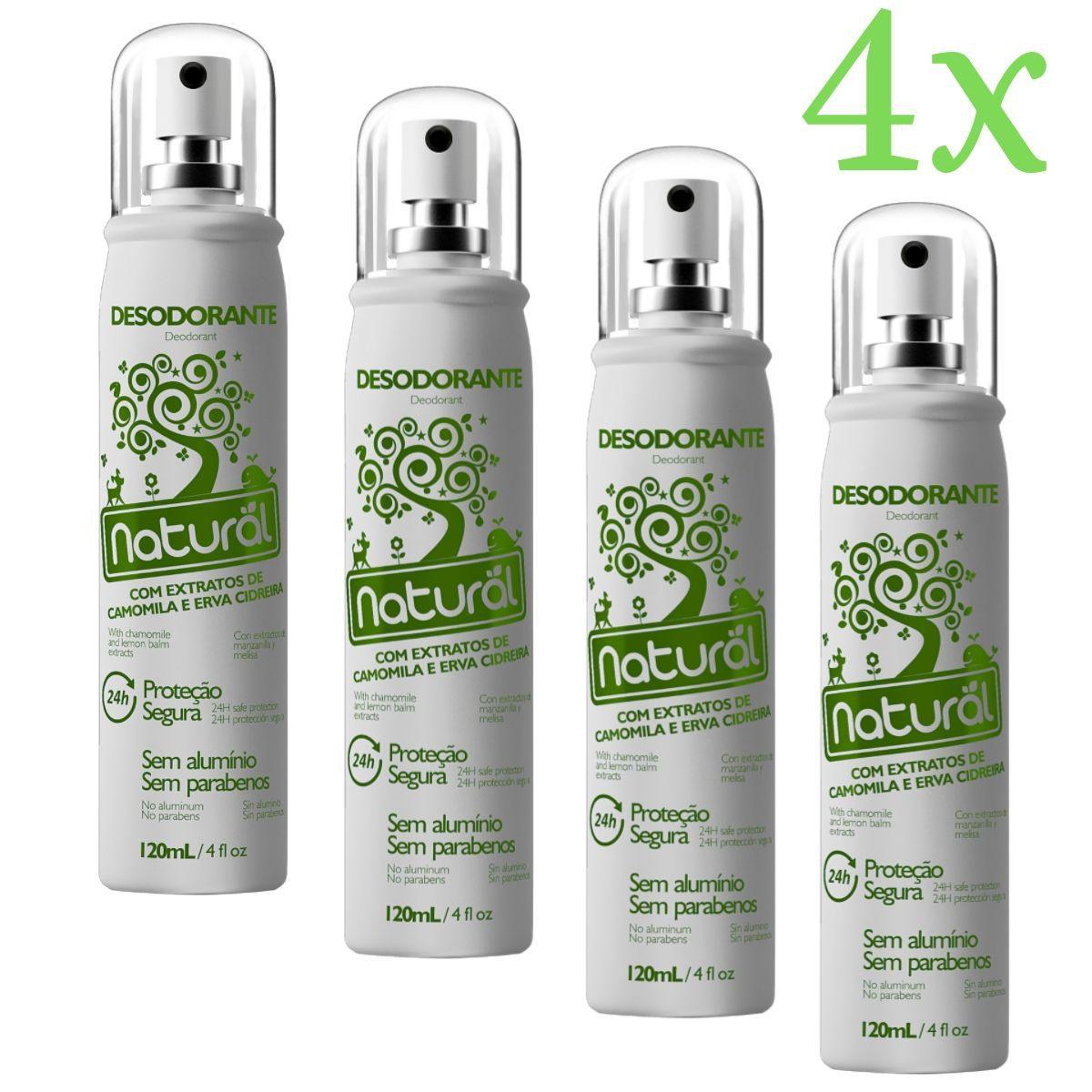 Kit 4 Desodorante Spray Suavetex Orgânico Natural Camomila e Erva Cidreira 120ml