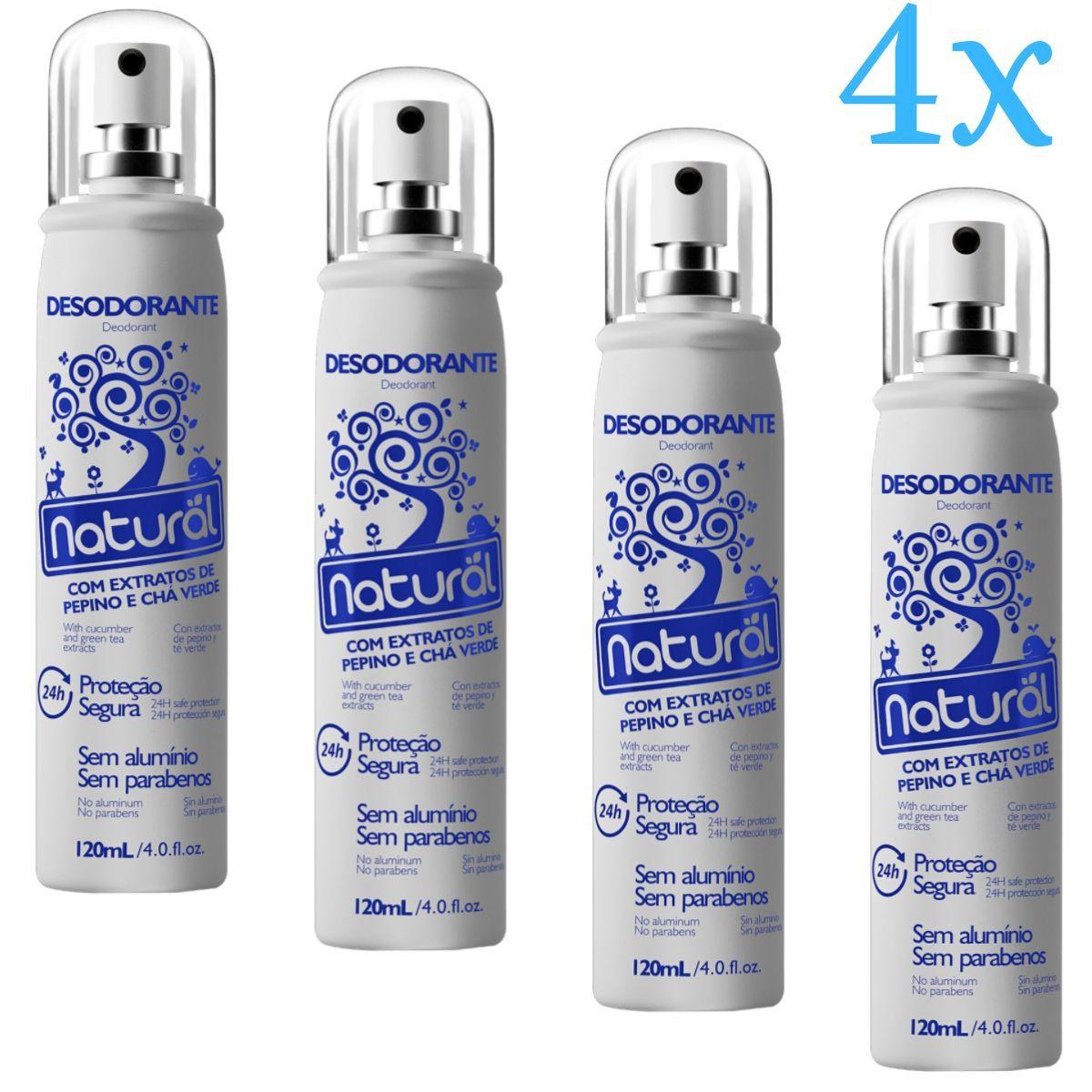 Kit 4 Desodorante Spray Suavetex Orgânico Natural Pepino e Chá Verde 120ml
