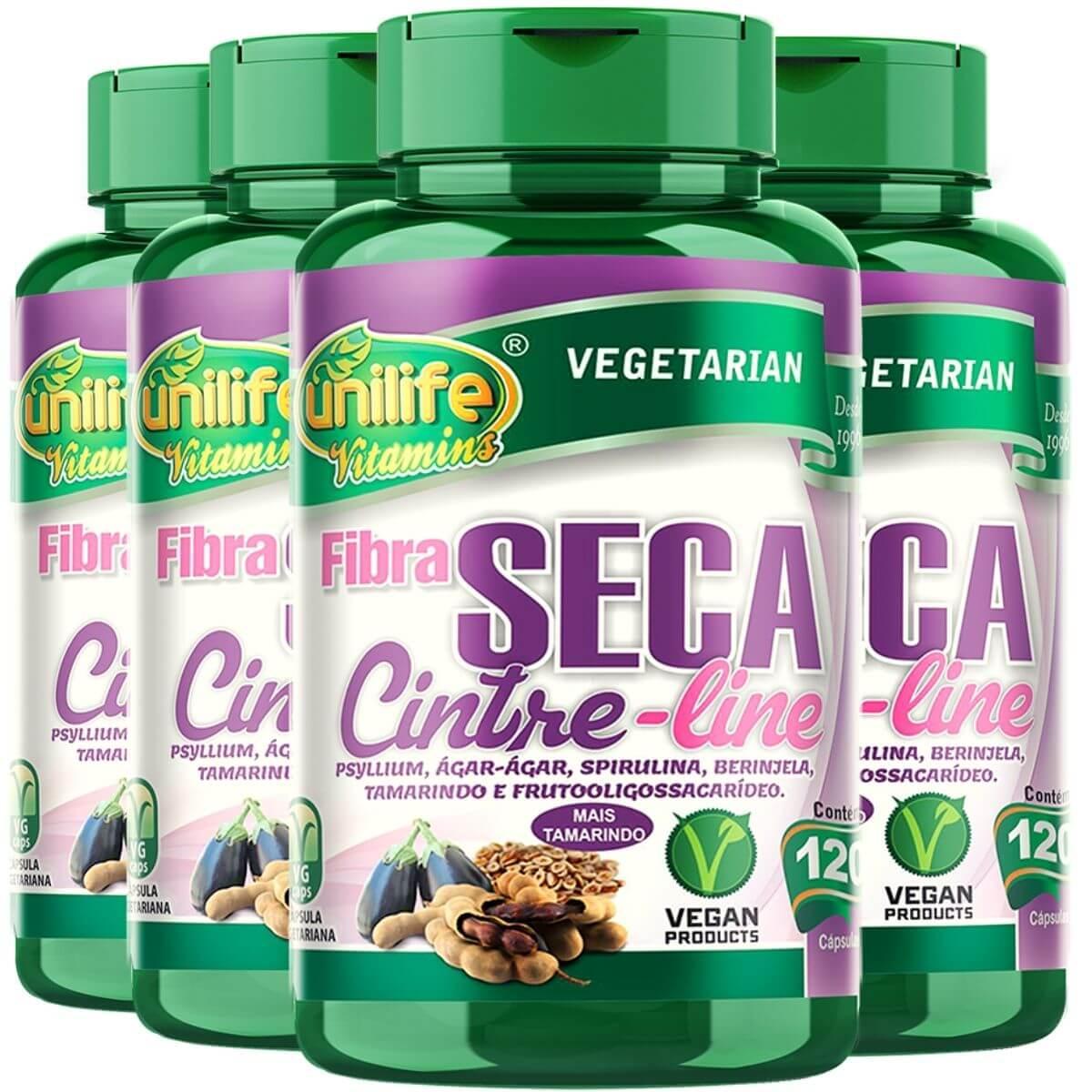 Kit 4 Emagrecedor Fibra Seca Cinture Line 120 Cápsulas - Unilife