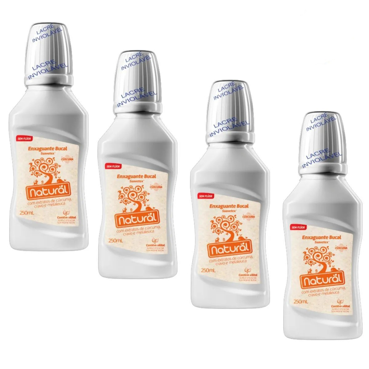 Kit 4 Enxaguante Bucal Suavetex Natural C/ Extratos Cúrcuma, Cravo e Melaleuca - 250ml