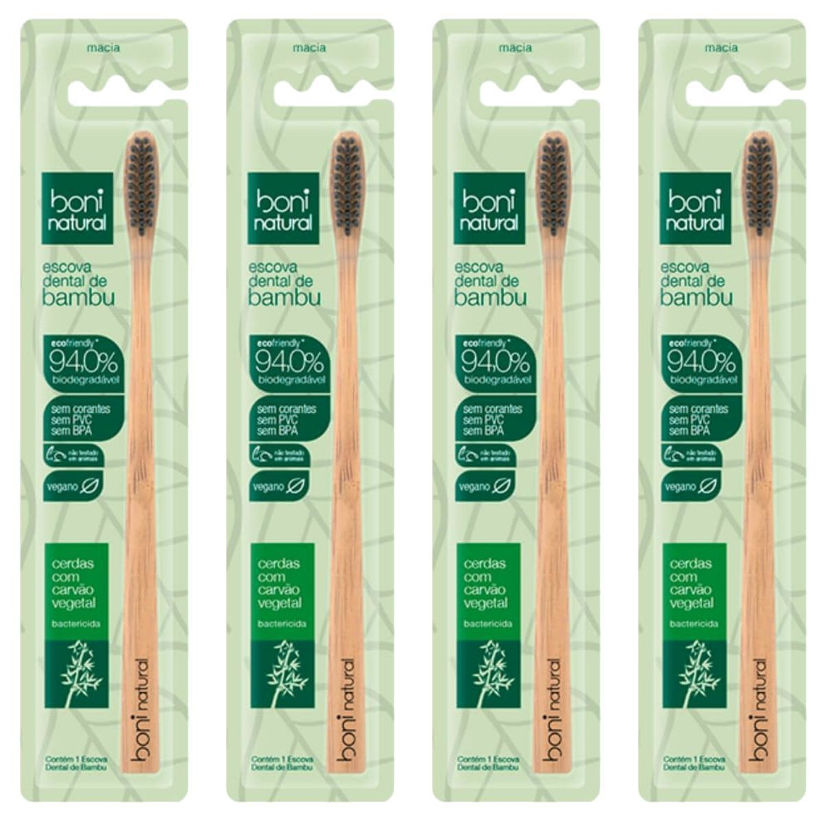 Kit 4 Escova Dental Natural Vegana Bamboo e Cerdas de Carvão Boni