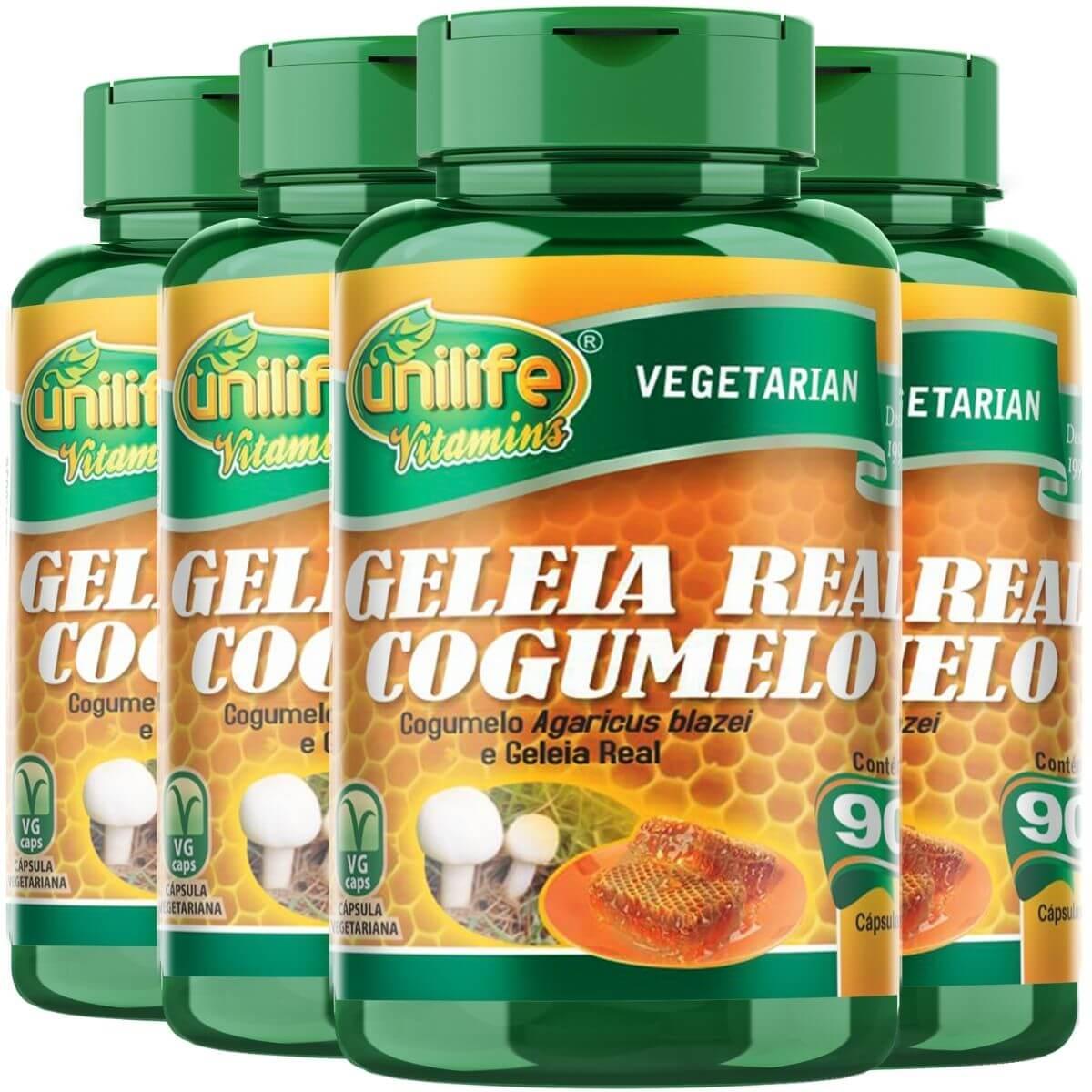 Kit 4 Geleia Real Com Cogumelo Agaricus Blazei 780mg 90 Capsulás - Unilife