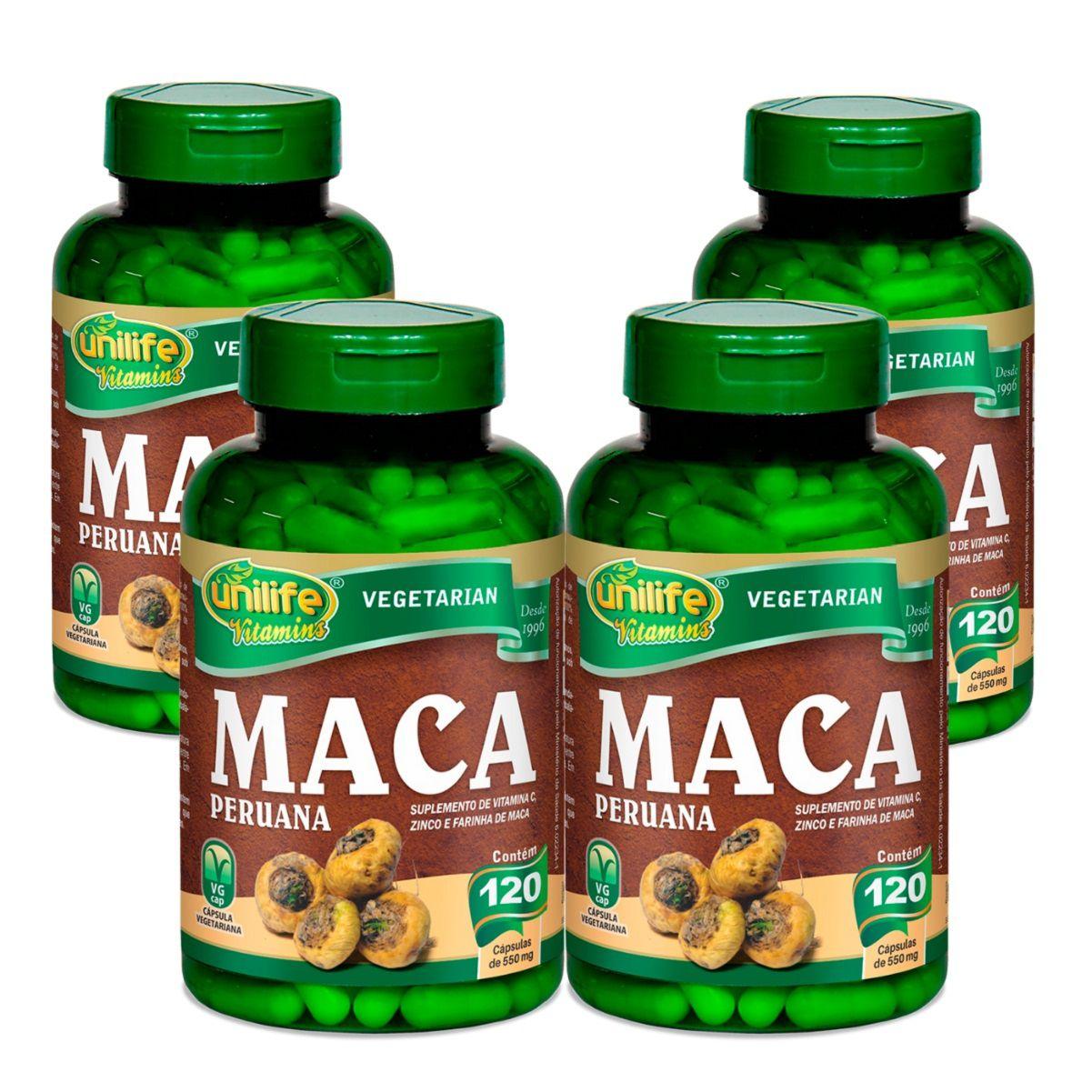 Kit 4 Maca Peruana C/ Vitaminas - Unilife 500mg 120 Cápsulas