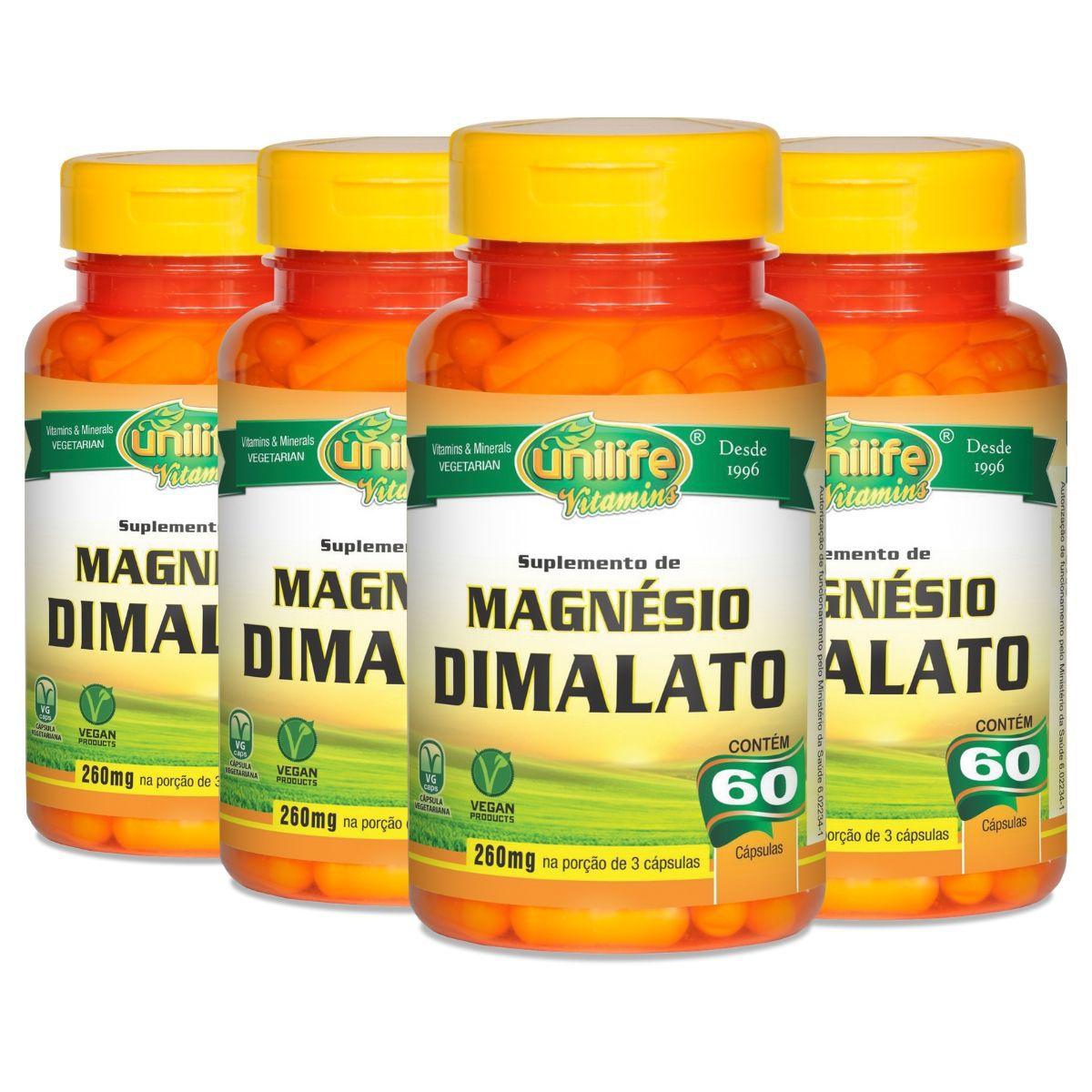 Kit 4 Magnésio Dimalato Unilife - 60 Cápsulas 700mg