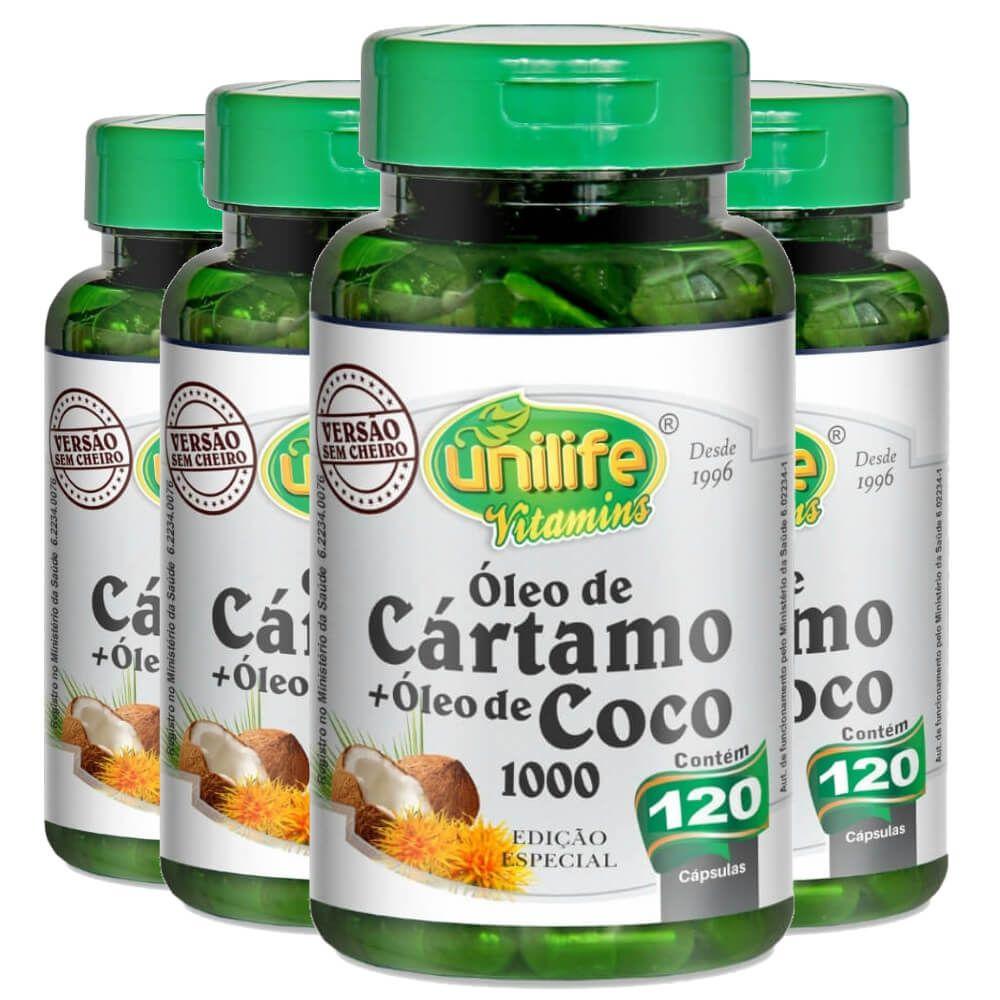 Kit 4 Óleo de Cártamo + Óleo de Coco - Unilife 120 Cáps