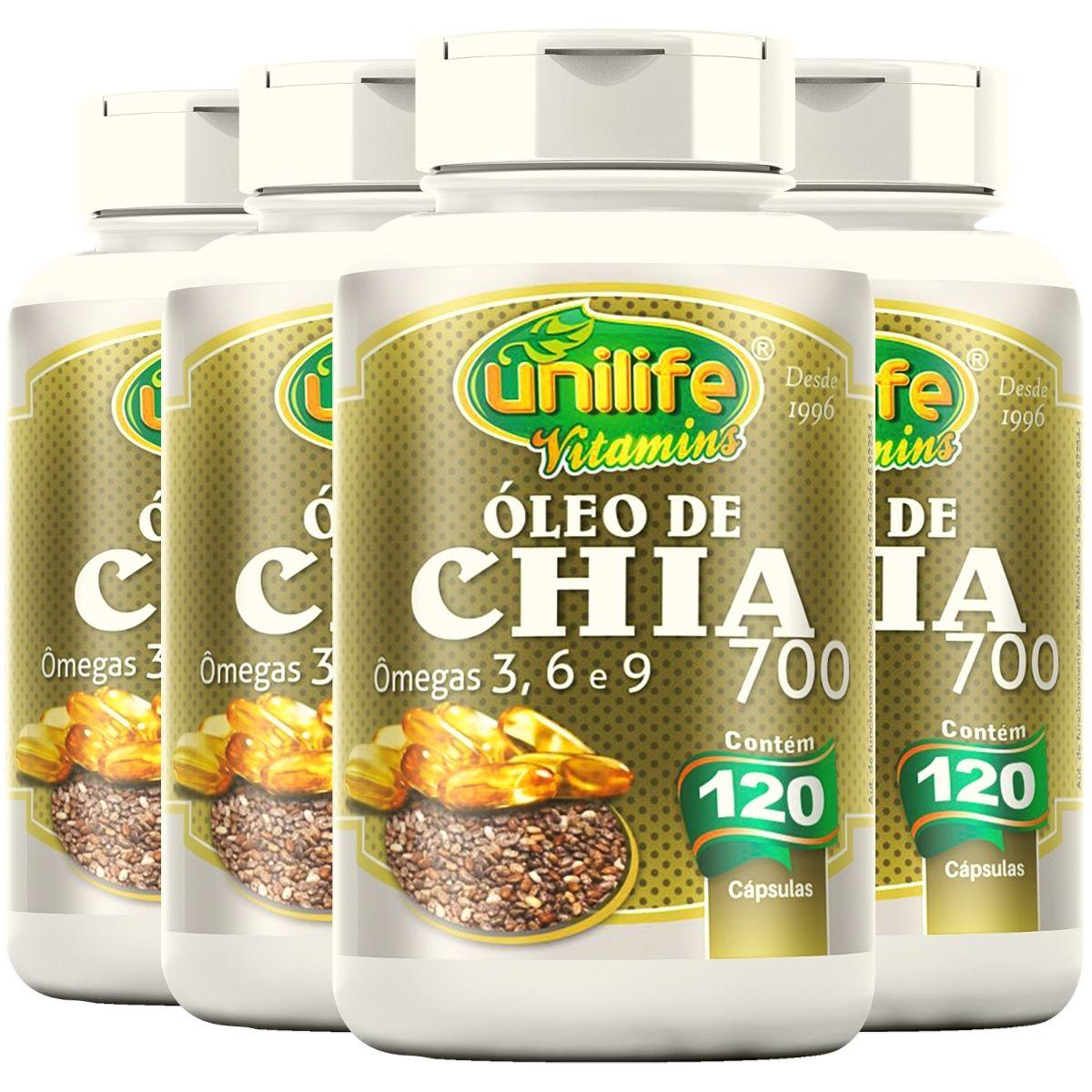 Kit 4 Óleo de Chia 120 Cápsulas Unilife - Rico em Omega 3, 6 e 9