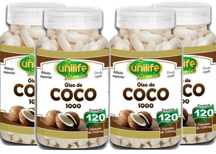 Kit 4 Óleo de Coco 1000 Edição Especial - 120 Cápsulas 1200mg - Unilife