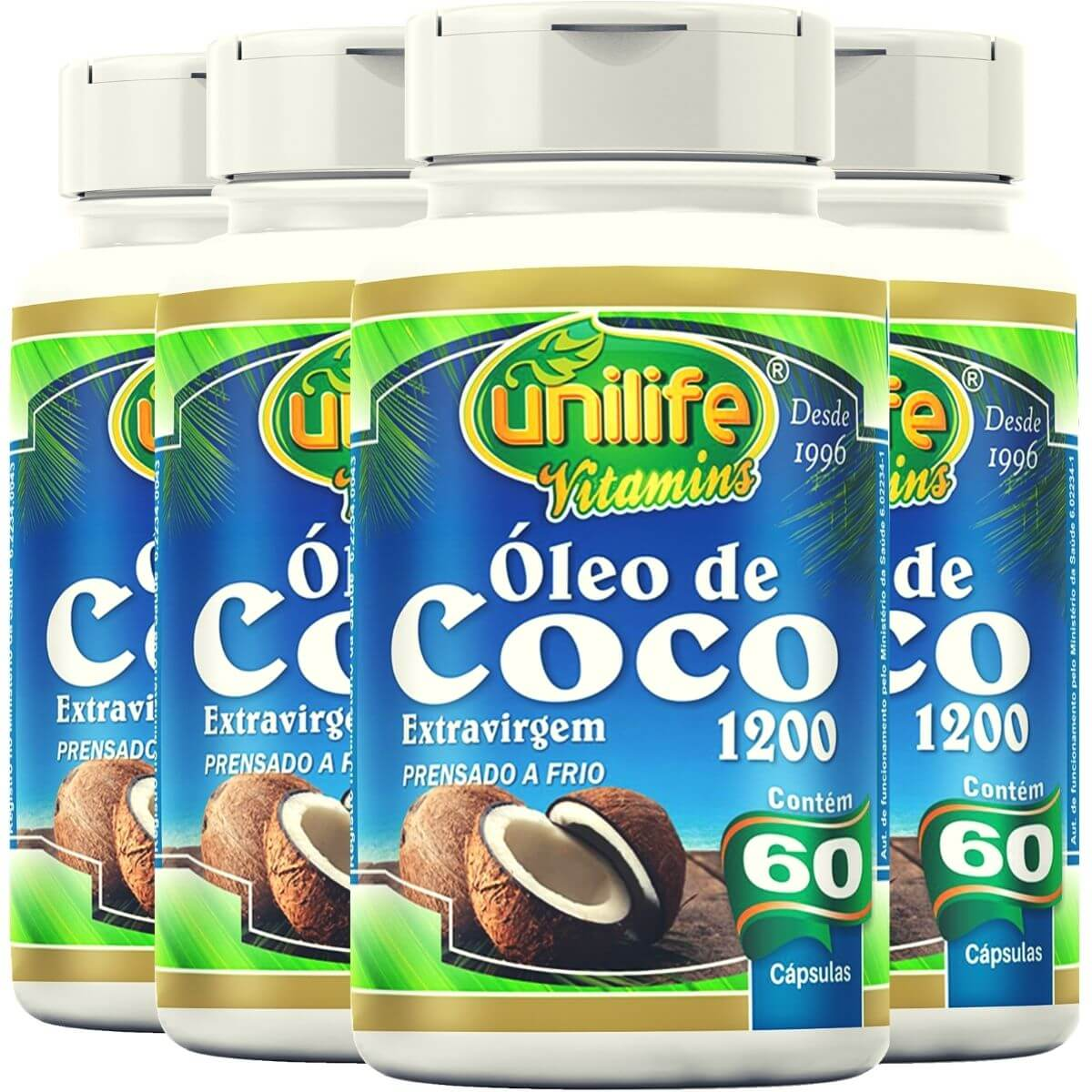Kit 4 Óleo de Coco Extra Virgem Unilife - 60 Cáps 1200mg