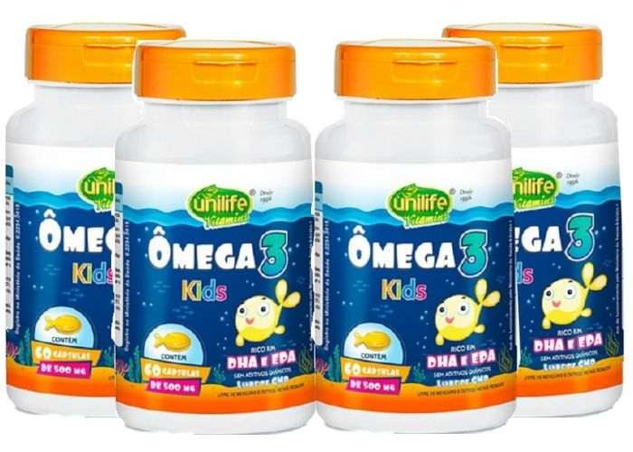 Kit 4 Ômega 3 Kids Unilife 60 Cápsulas 500mg