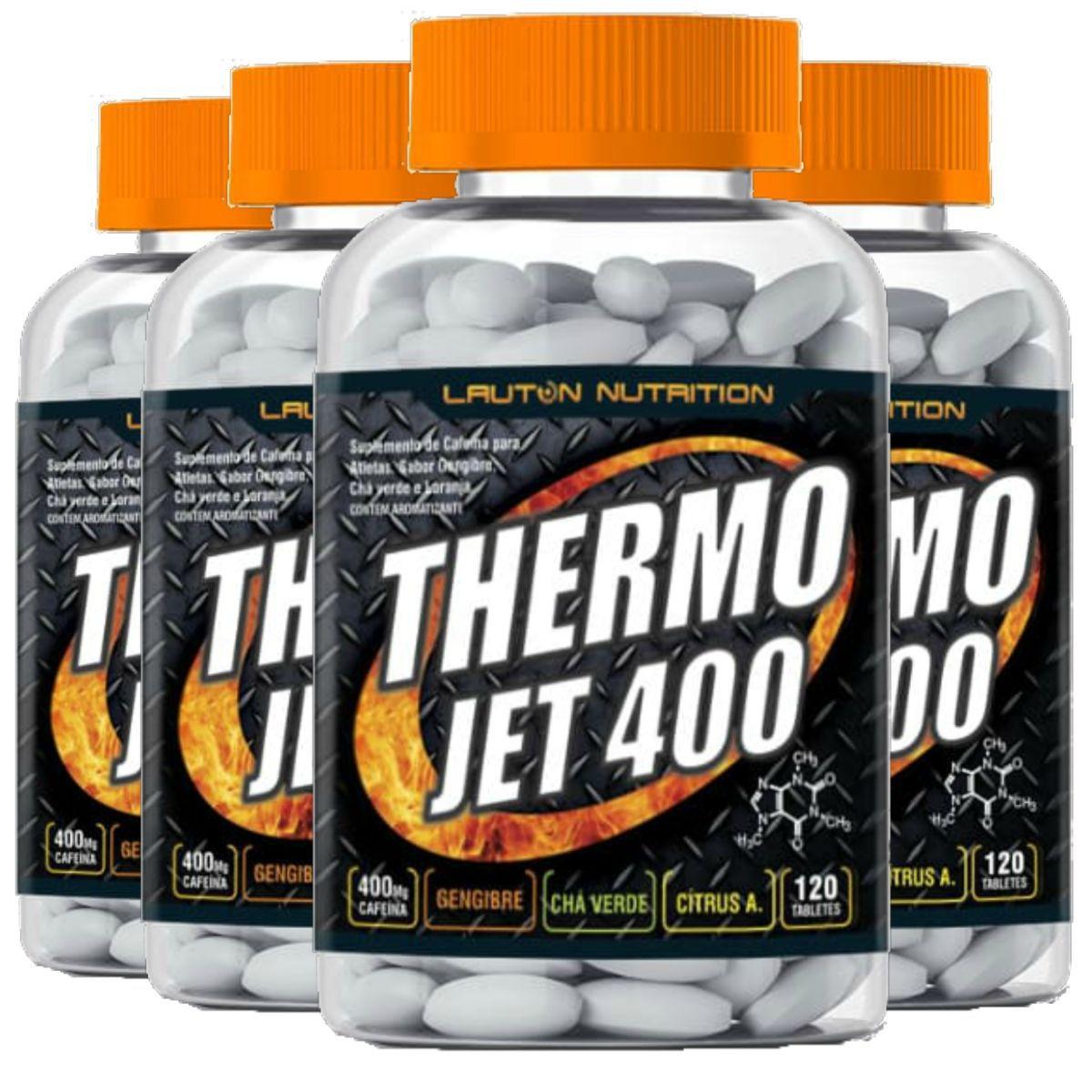 Kit 4 Thermo Jet 400 Termogênico Lauton Nutrition 120 Comp
