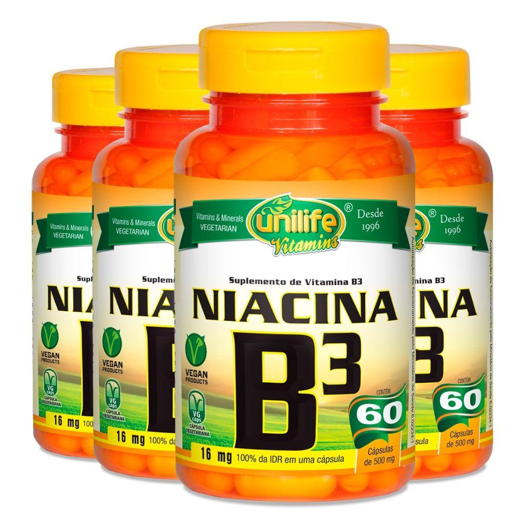 Kit 4 Vitamina B3 Niacina - Unilife 60 Cáps 500mg