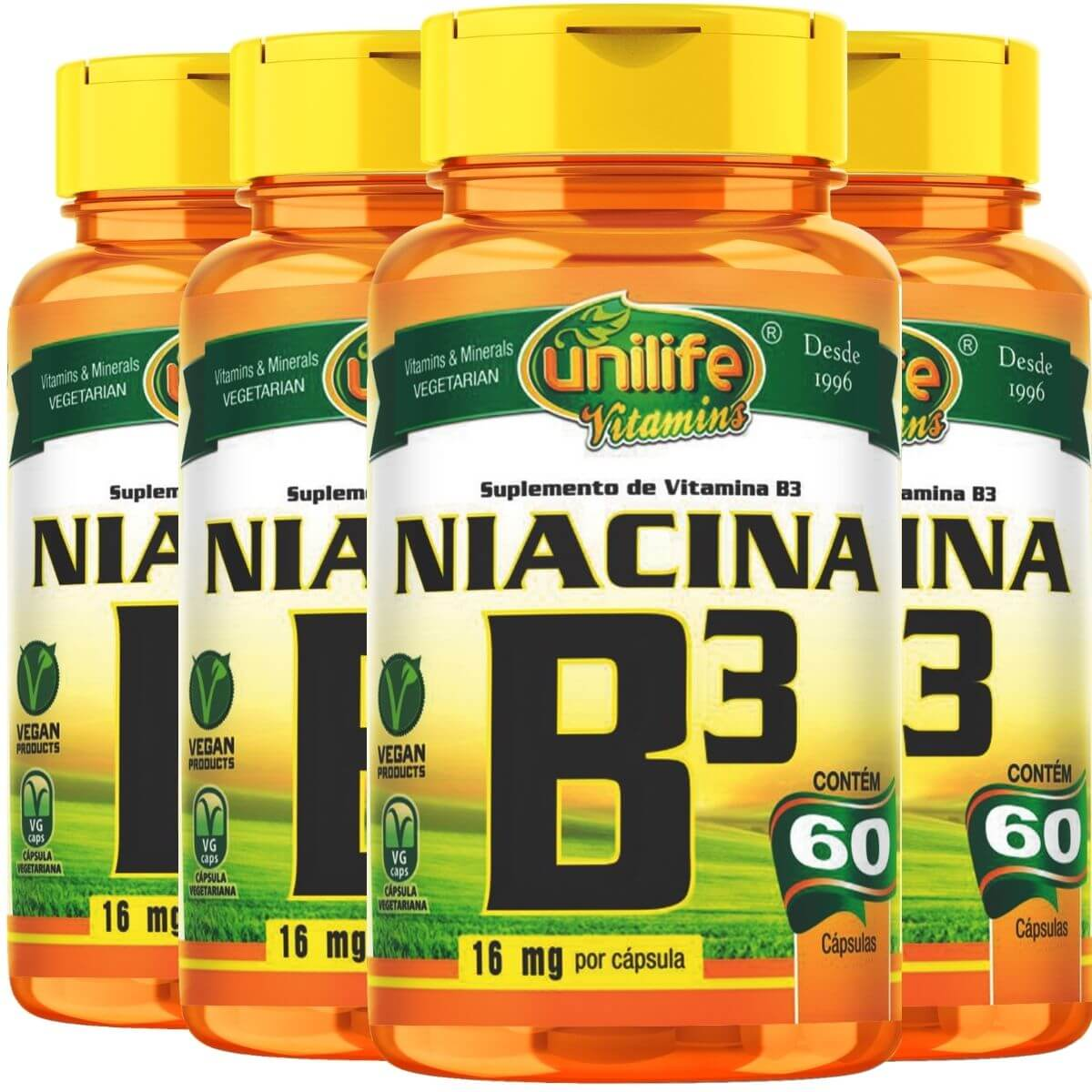 Kit 4 Vitamina B3 Niacina - Unilife 60 Cáps 500mg