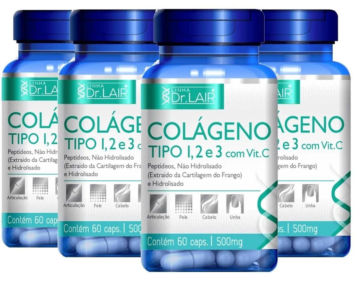 Kit 4x Colágeno tipo 1, 2 e 3 C/ Vitamina C 60 Cáps 500mg Dr. Lair - Upnutri