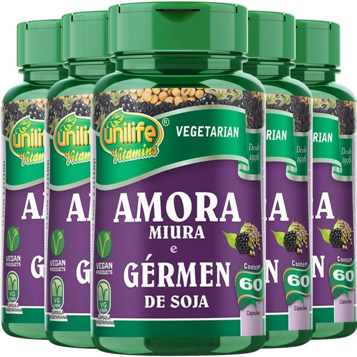 kit 5 Amora Miura C/ Gérmen de Soja Unilife - 60 Cápsulas
