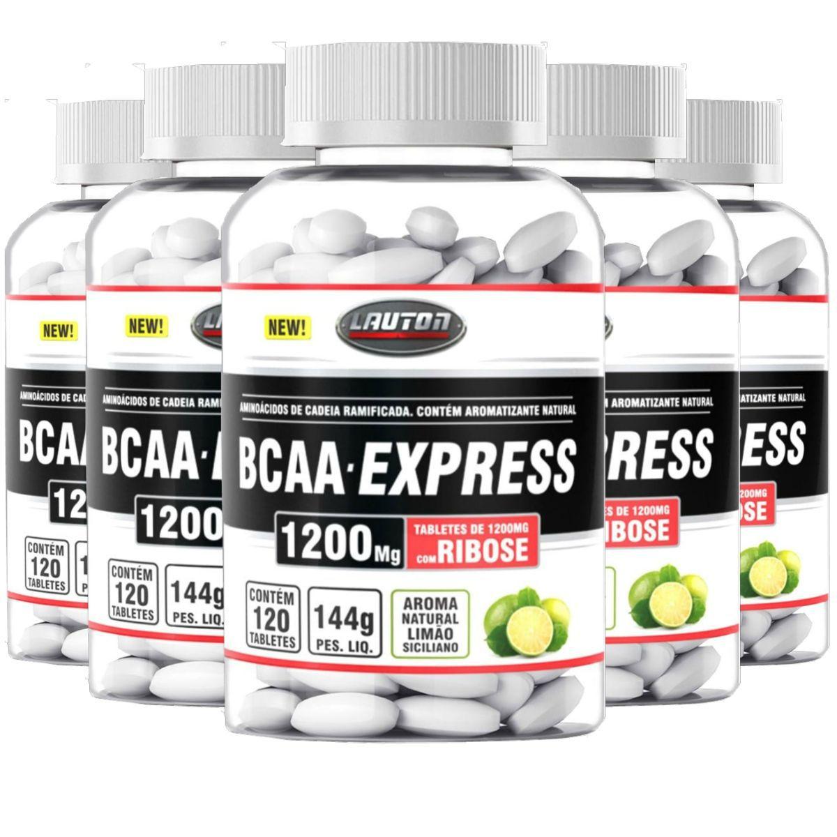 Kit 5 Bcaa Express + Ribose Lauton Nutrition 120 Tabs 1200mg