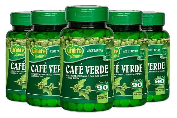 Kit 5 Café Verde Unilife com Vitaminas e Minerais - 90 Comprimidos 400mg