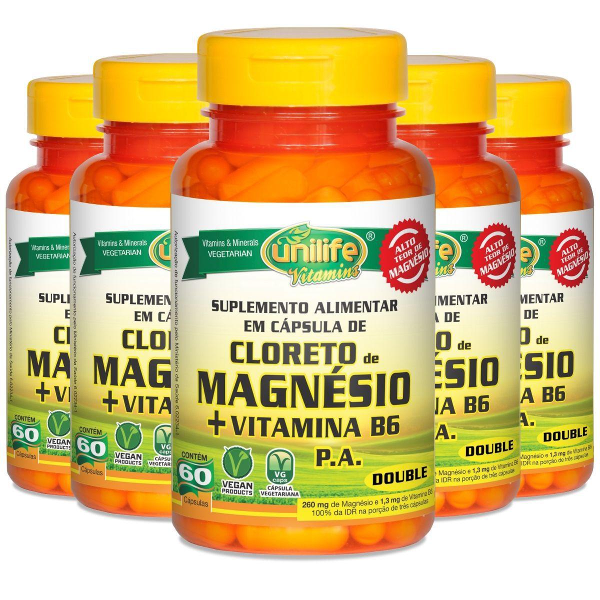 Kit 5 Cloreto De Magnésio Pa C/ Vitamina B6 800mg 60 Cápsulas - Unilife