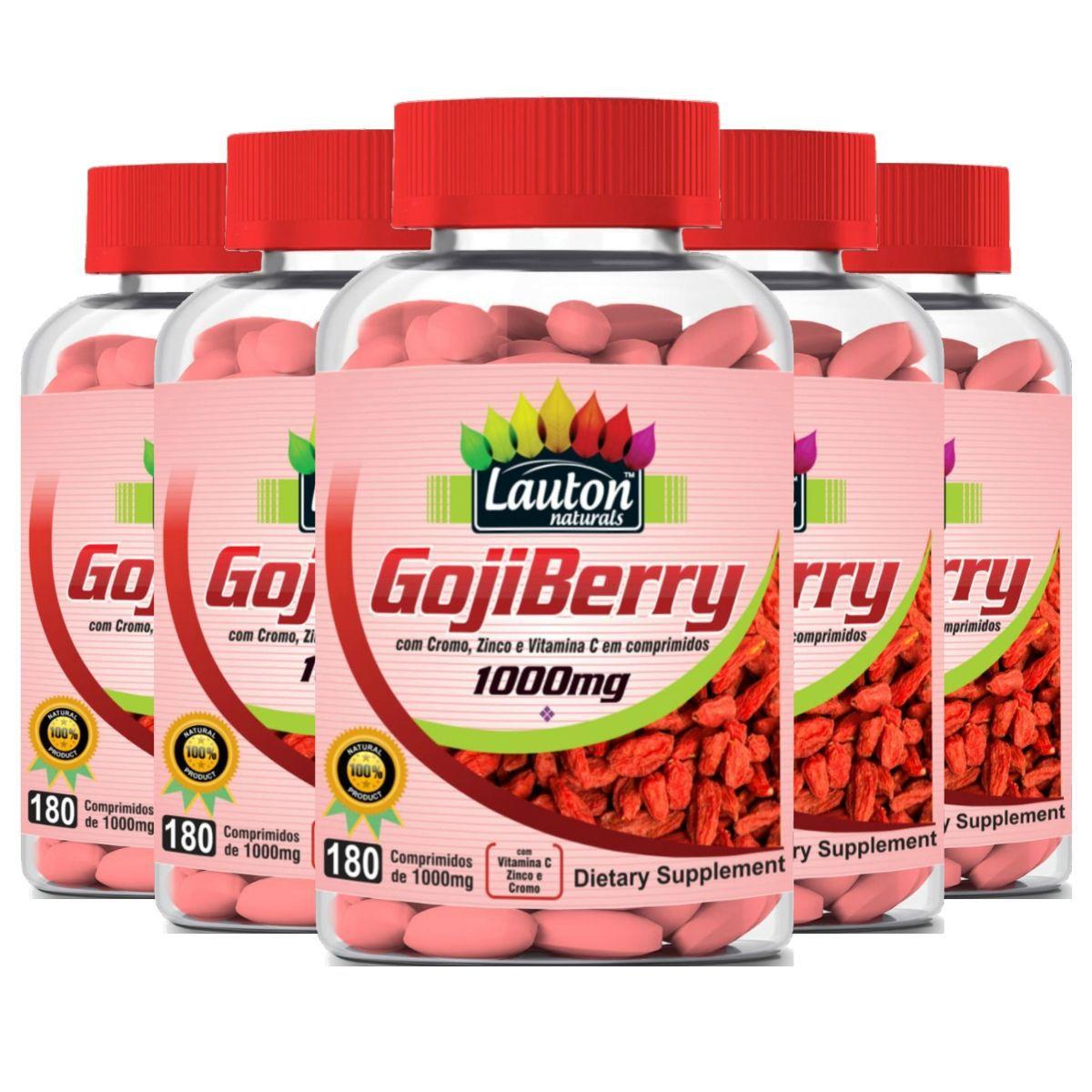 Kit 5 Goji Berry Lauton Nutrition 180 Comprimidos 1000mg