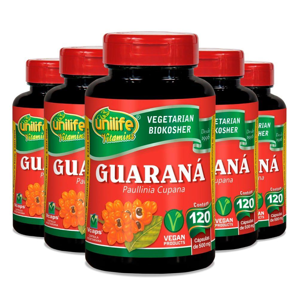 Kit 5 Guaraná em Cápsulas Unilife - 500mg 120 Cáps