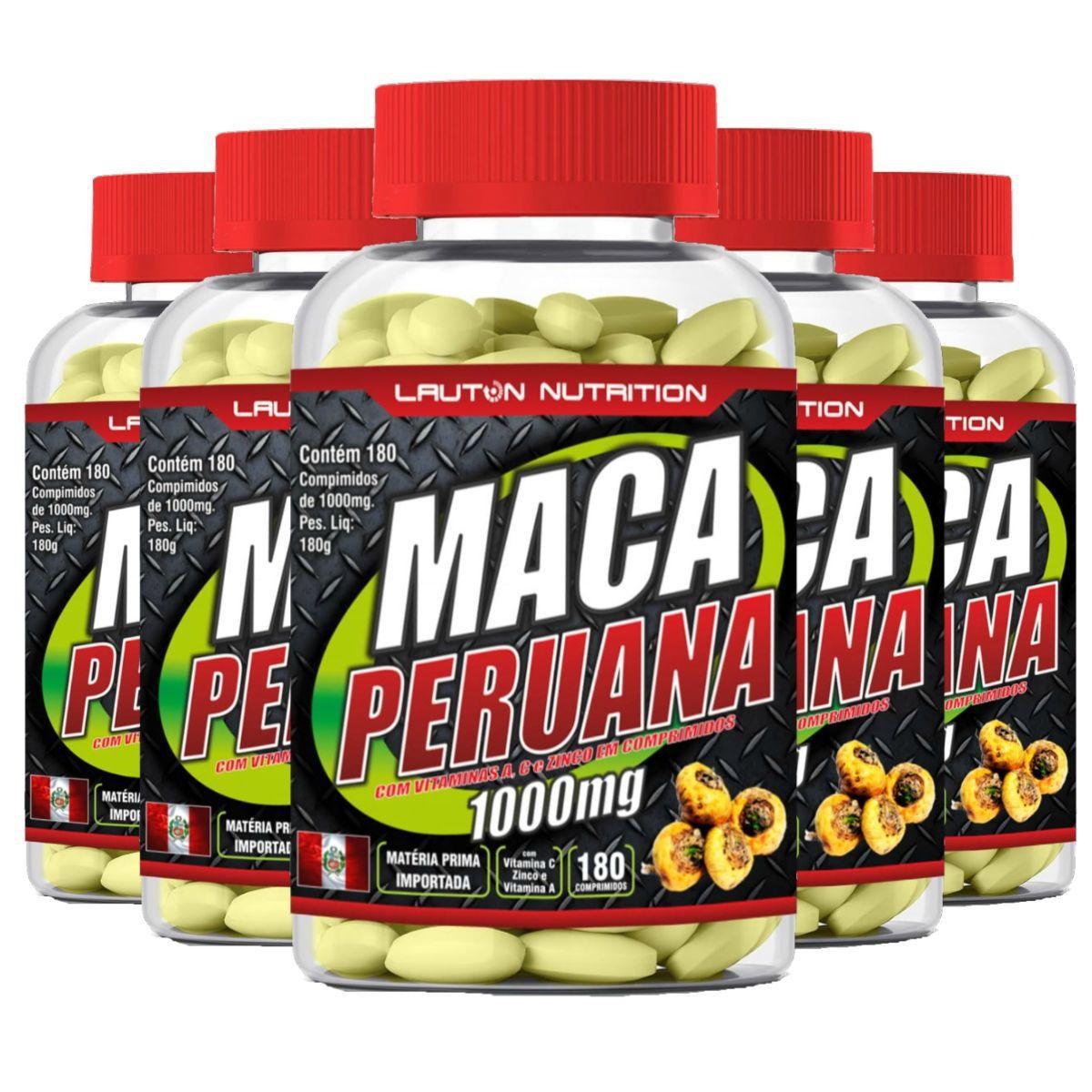 Kit 5 Maca Peruana 180 Tabs 1000mg - Lauton Nutrition